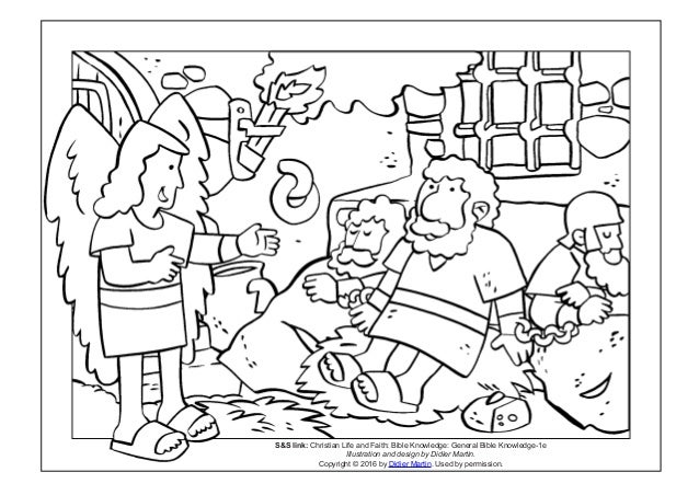 Coloring page- The acts of the apostles: A miraculous escape