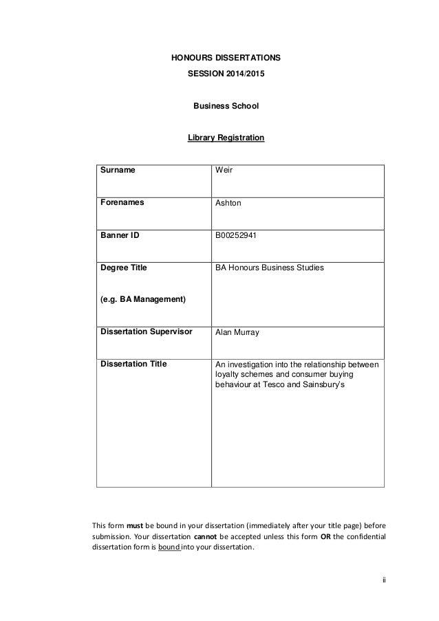 Honours dissertation