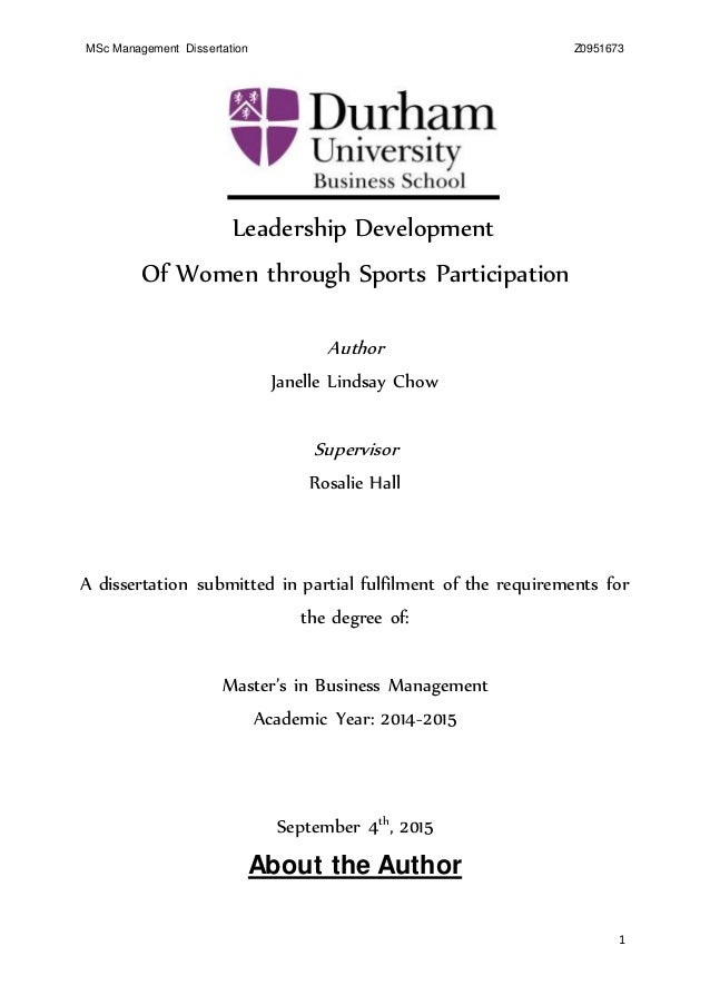 sports management dissertation Sport dissertation topics – introduction a degree in sports science could assist students seeking to build a career in sports therapy, coaching, development or.