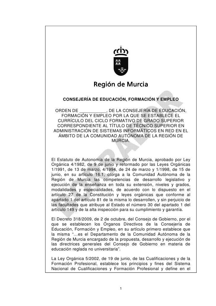 Región de Murcia      CONSEJERÍA DE EDUCACIÓN, FORMACIÓN Y EMPLEO  ORDEN DE ___________, DE LA CONSEJERÍA DE EDUCACIÓN,   ...
