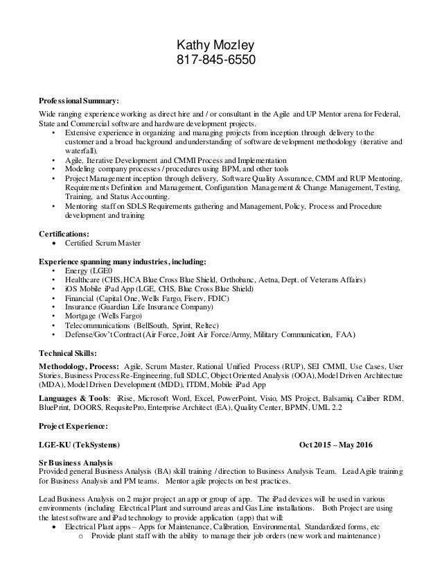 Agile Resume  Agile Business Analyst Resume