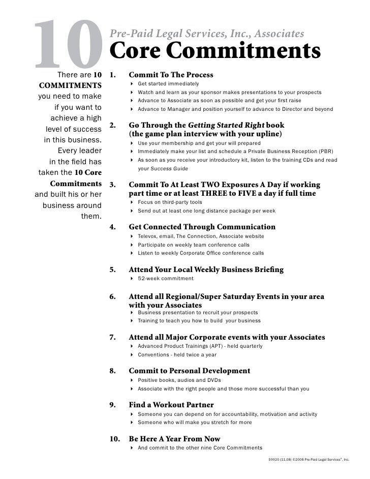 10      There are 10  COMMITMENTS  you need to make                         Pre-Paid Legal Services, Inc., Associates     ...
