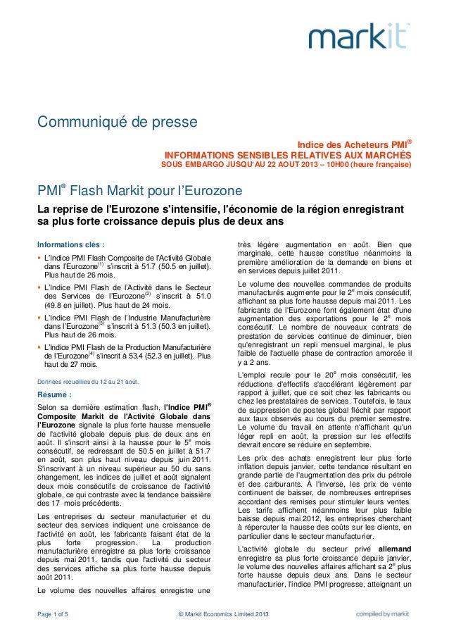 Page 1 of 5 © Markit Economics Limited 2013 Communiqué de presse Indice des Acheteurs PMI® INFORMATIONS SENSIBLES RELATIVE...