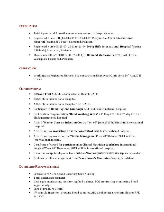 Icu nurse resume example