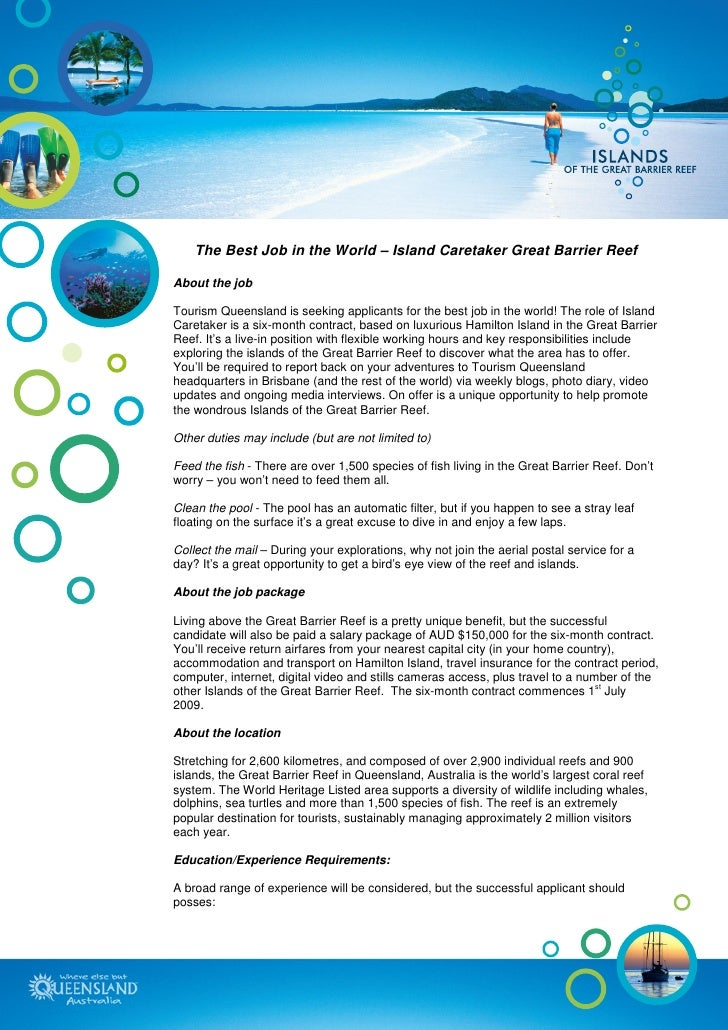 Island Caretaker Great Barrier Reef Job Description