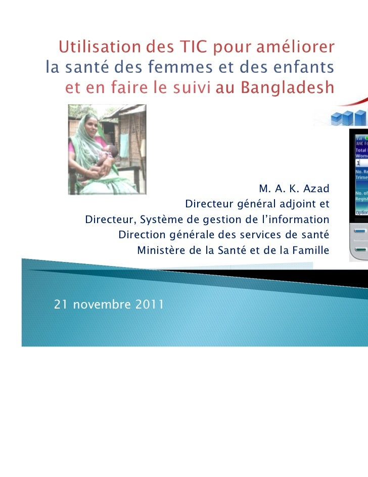 Use of  ICT to Monitor and Improve Women's and Children's Health in Bangladesh (French)