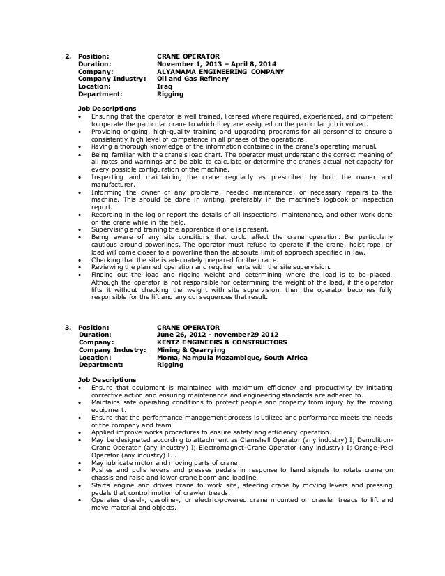 Impressive Resume Sample For Heavy Equipment Operator Job With Crane Operator  Resume Resume It  Resume For Heavy Equipment Operator