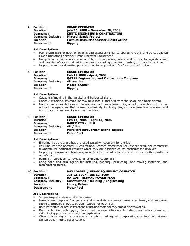 Crane Operator Sample Resume