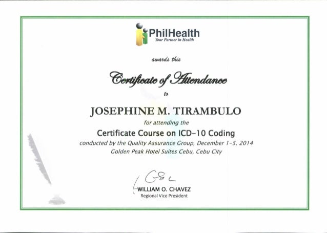 ICD 10 CERTIFICATE OF ATTENDANCE