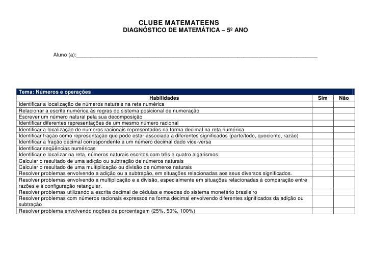 CLUBE MATEMATEENS                                            DIAGNÓSTICO DE MATEMÁTICA – 5º ANO                 Aluno (a):...