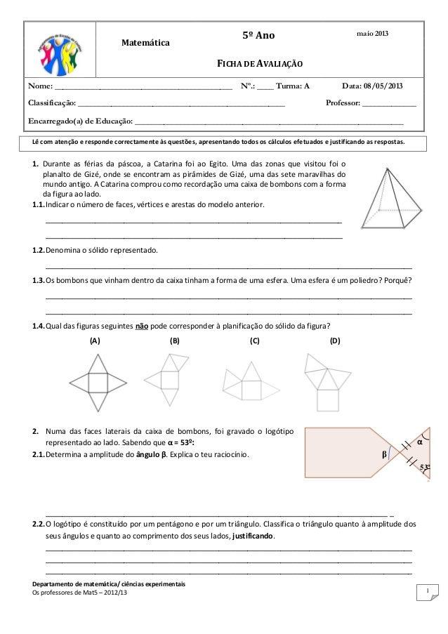 Ficha de avaliação MAT5 nº 5