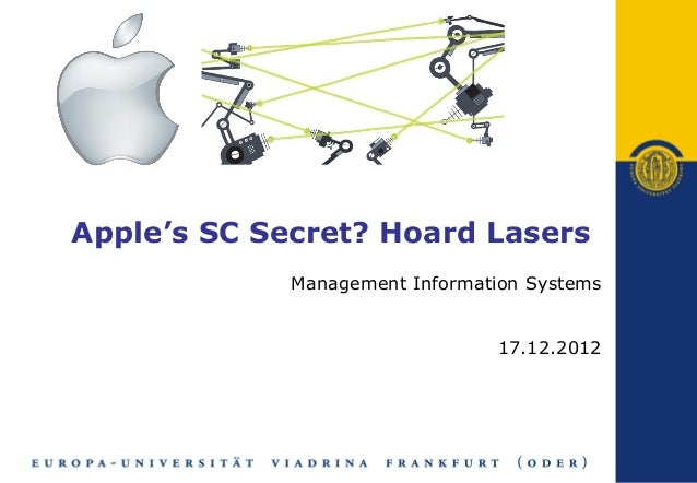 Apple's SC Secret? Hoard Lasers             Management Information Systems                                17.12.2012