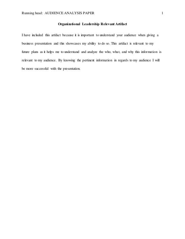 Audience analysis essay example