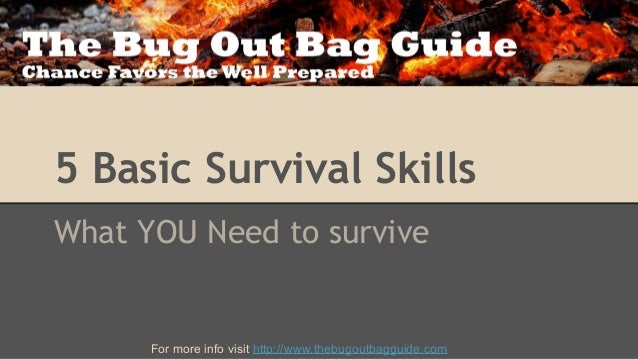 5 Basic Survival Skills What YOU Need to survive  For more info visit http://www.thebugoutbagguide.com