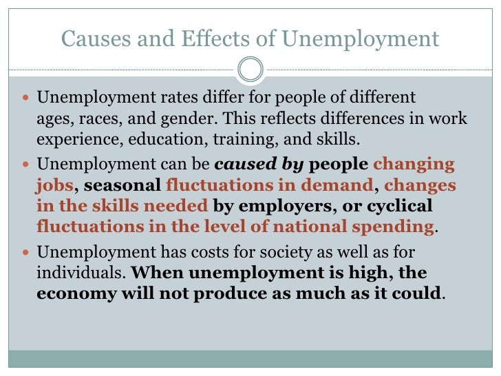 Causes and Effects of Unemployment Essay Sample