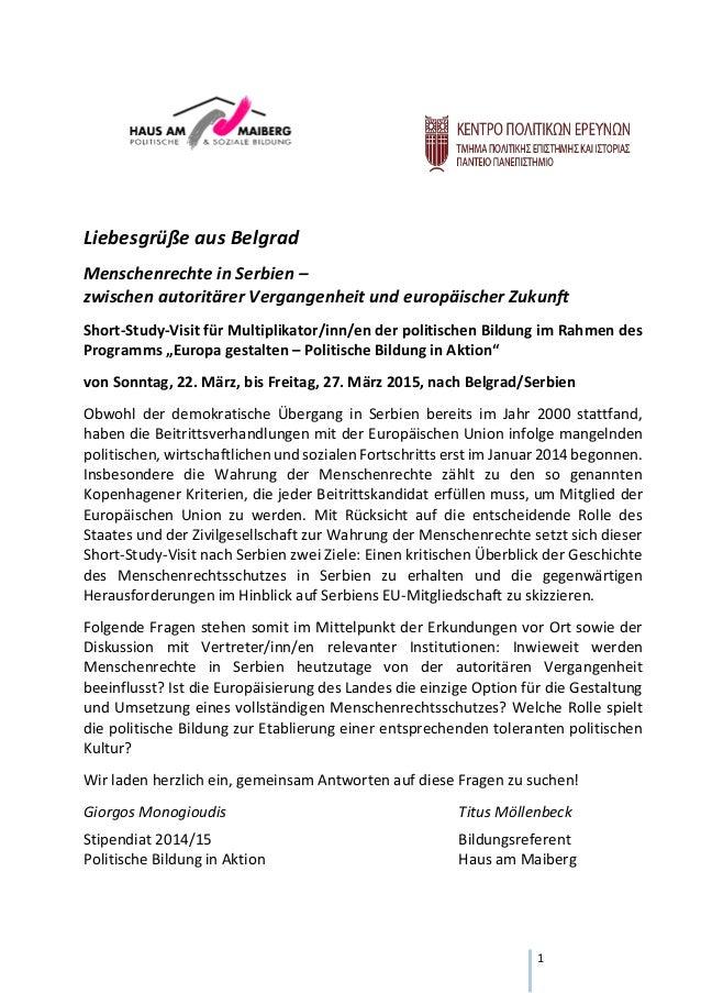 1 Liebesgrüße aus Belgrad Menschenrechte in Serbien – zwischen autoritärer Vergangenheit und europäischer Zukunft Short-St...