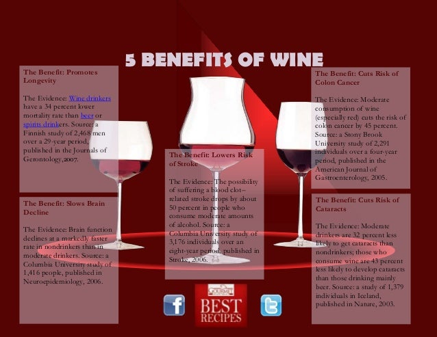 5 BENEFITS OF WINEThe Benefit: PromotesLongevityThe Evidence: Wine drinkershave a 34 percent lowermortality rate than beer...