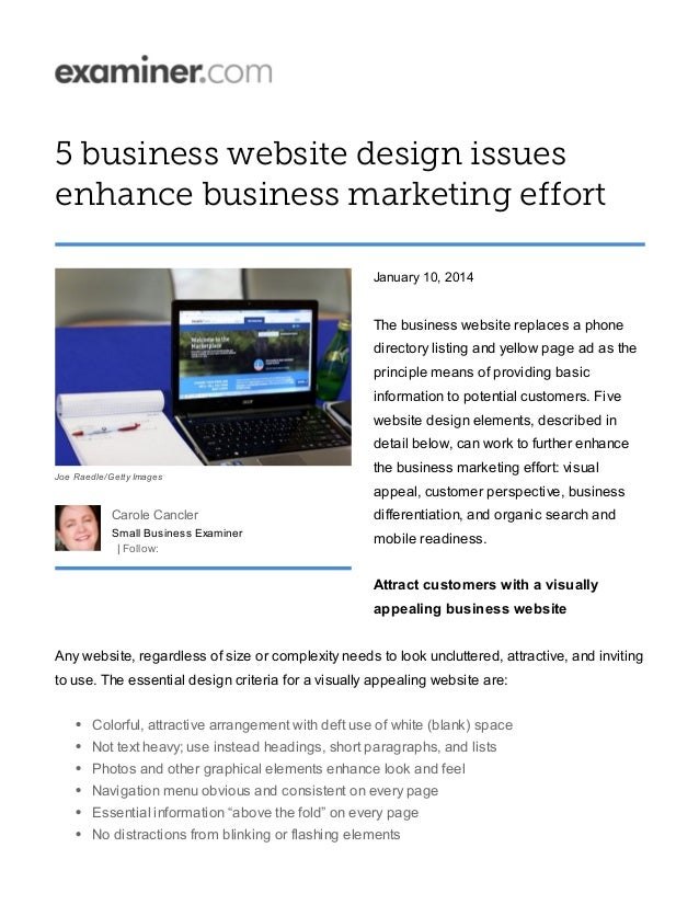 5 business website design issues enhance business marketing effort January 10, 2014 The business website replaces a phone ...