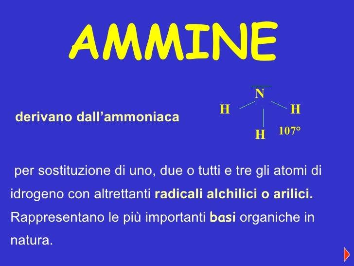 AMMINE derivano dall'ammoniaca per sostituzione di uno, due o tutti e tre gli atomi di idrogeno con altrettanti   radicali...