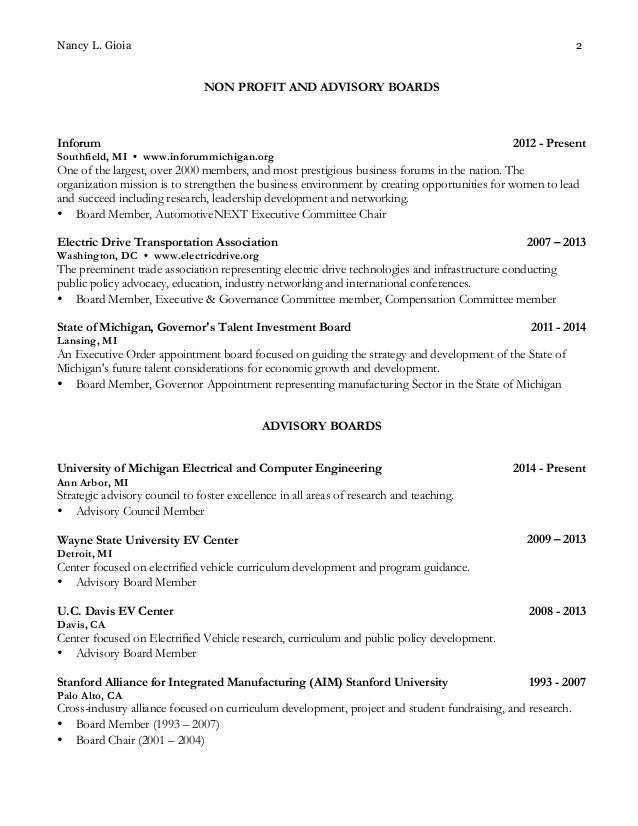 nancy gioia board resume nov 2014