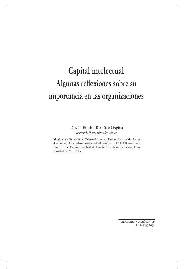 Capital intelectual  Algunas reflexiones sobre suimportancia en las organizaciones             Duván Emilio Ramírez Ospina ...