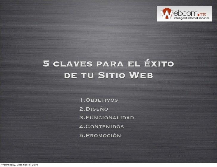 5 claves para el éxito                                  de tu Sitio Web                                    1.Objetivos    ...