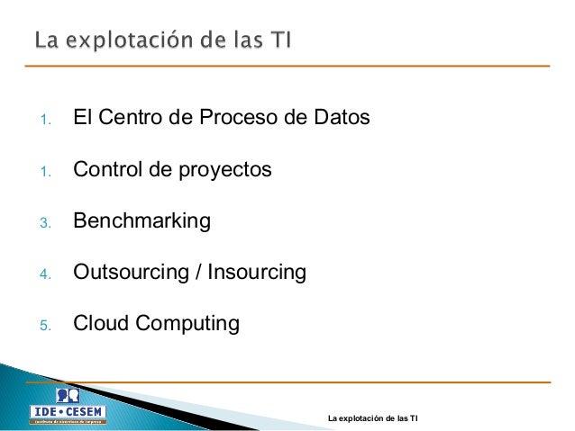 1. El Centro de Proceso de Datos 1. Control de proyectos 3. Benchmarking 4. Outsourcing / Insourcing 5. Cloud Computing La...