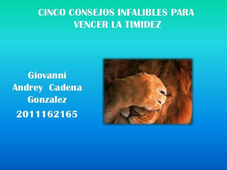 CINCO CONSEJOS INFALIBLES PARA           VENCER LA TIMIDEZ   GiovanniAndrey Cadena   Gonzalez 2011162165
