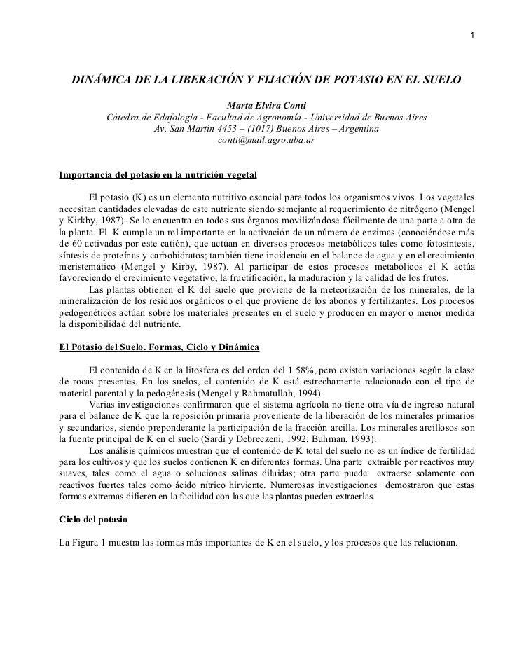 1        DINÁMICA DE LA LIBERACIÓN Y FIJACIÓN DE POTASIO EN EL SUELO                                         Marta Elvira ...