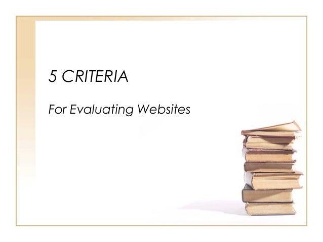 5 CRITERIA For Evaluating Websites