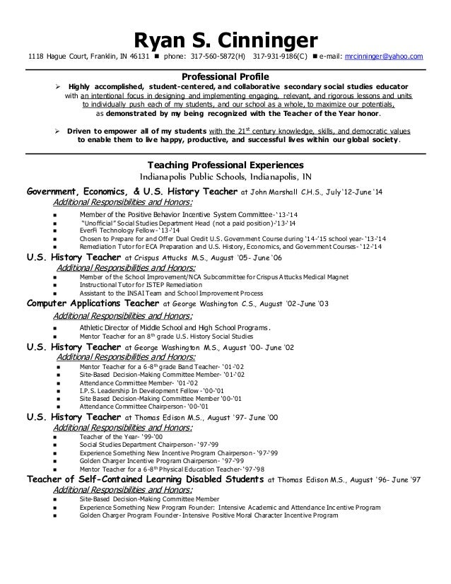 cinningerteachingresume june 2015 with reference contact info