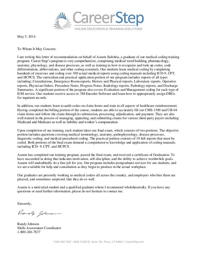 Sample Letter Of Recommendation For High School Student Going To