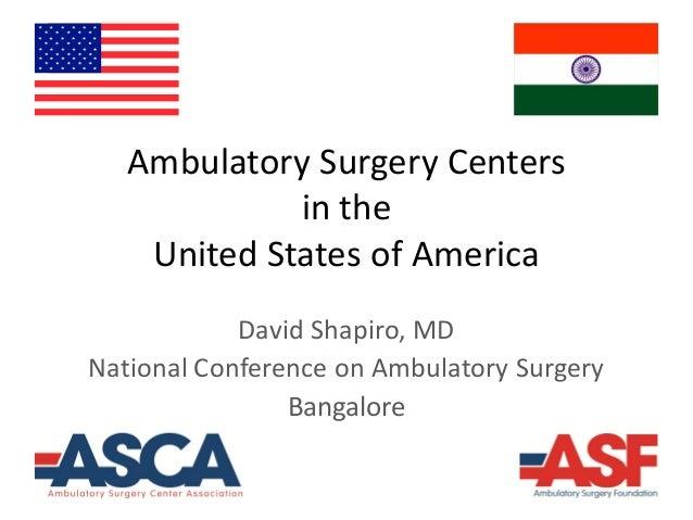 Ambulatory Surgery Centers in the United States of America David Shapiro, MD National Conference on Ambulatory Surgery Ban...