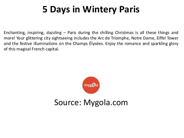 5 day trip to Paris in winters