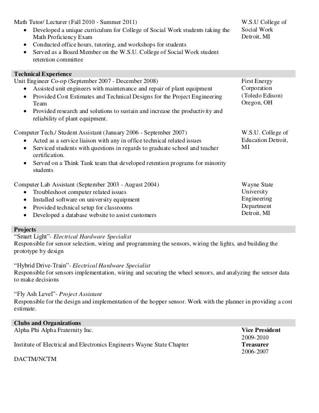 Resume For College Tutor Math Tutor Resume ...