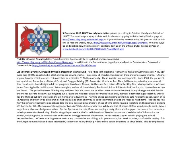 5 December 2012 1ABCT Weekly Newsletter: please pass along to Soldiers, Family and Friends of                             ...