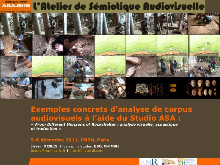 Exemples concrets d'analyse de corpusaudiovisuels à l'aide du Studio ASA :« From Different Horizons of Rockshelter : analy...
