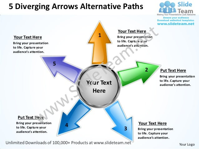 5 Diverging Arrows Alternative Paths                                             Your Text Here Your Text Here            ...