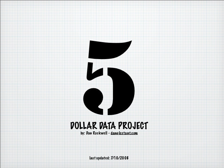 5 DOLLAR DATA PROJECT   by: Dan Rockwell - dan@lextant.com            last updated: 7/10/2008