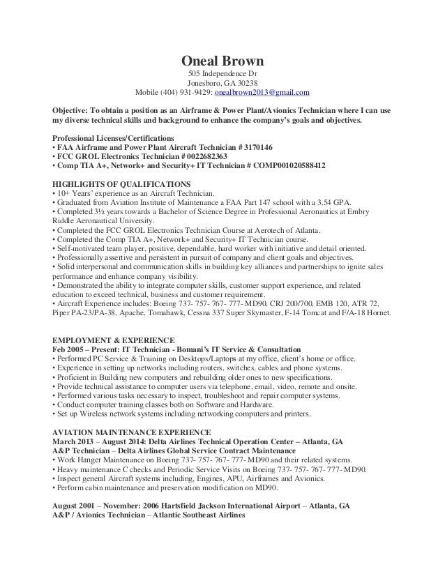 Avionics Mechanic Cover Letter