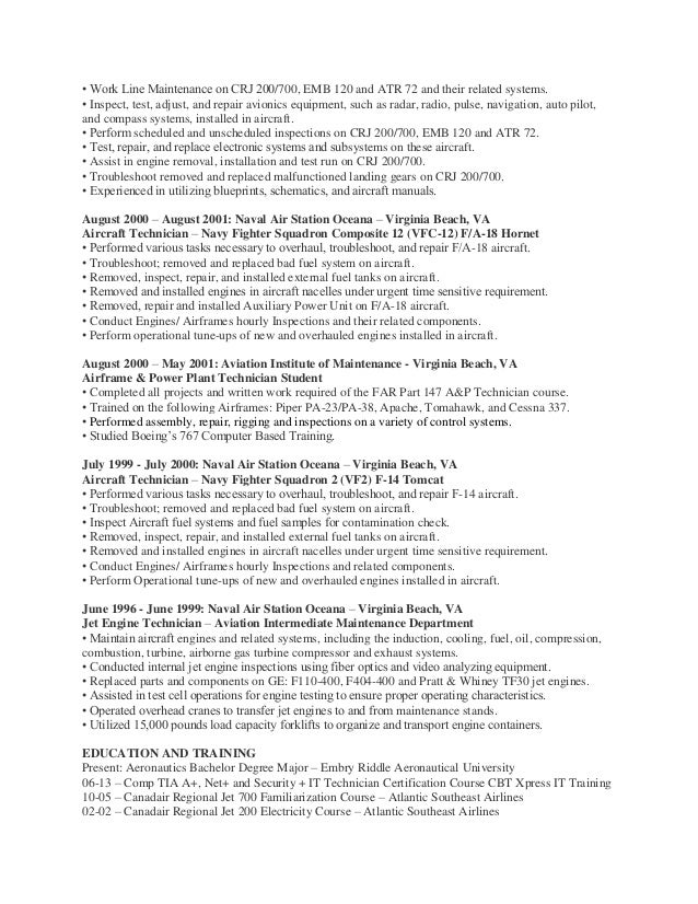 oneal brown a u0026p and avionics technician resume