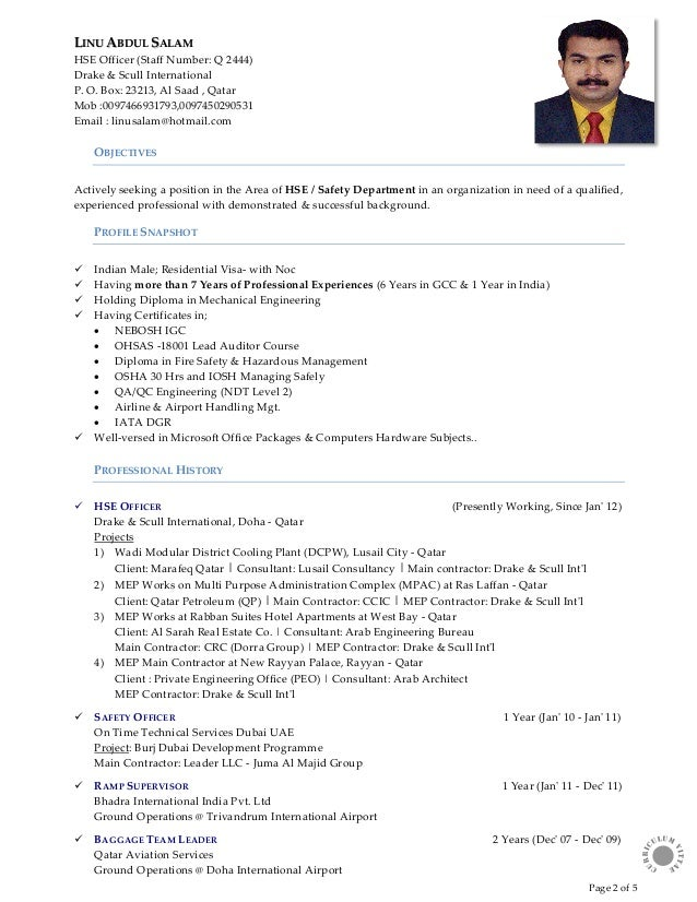 Hse officer sample resume