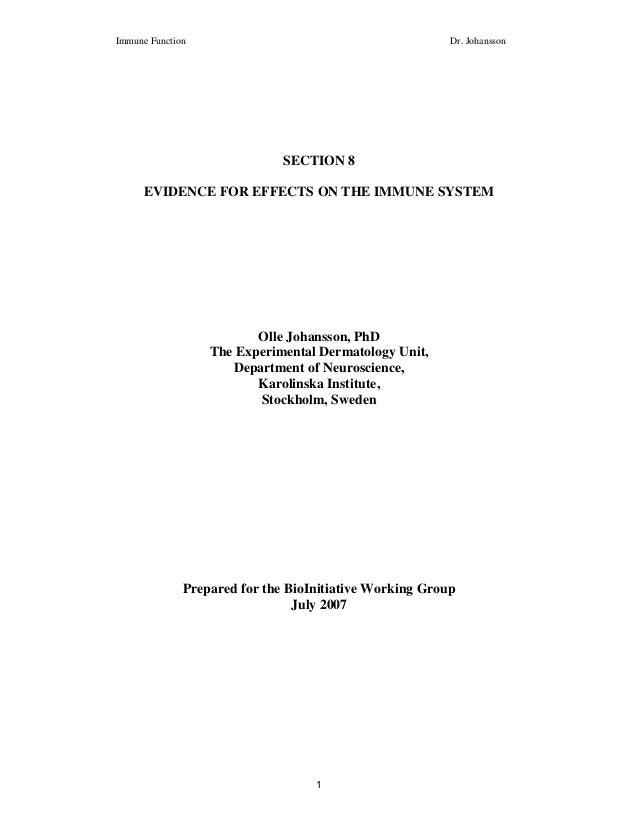 Immune Function                                          Dr. Johansson                              SECTION 8      EVIDENC...