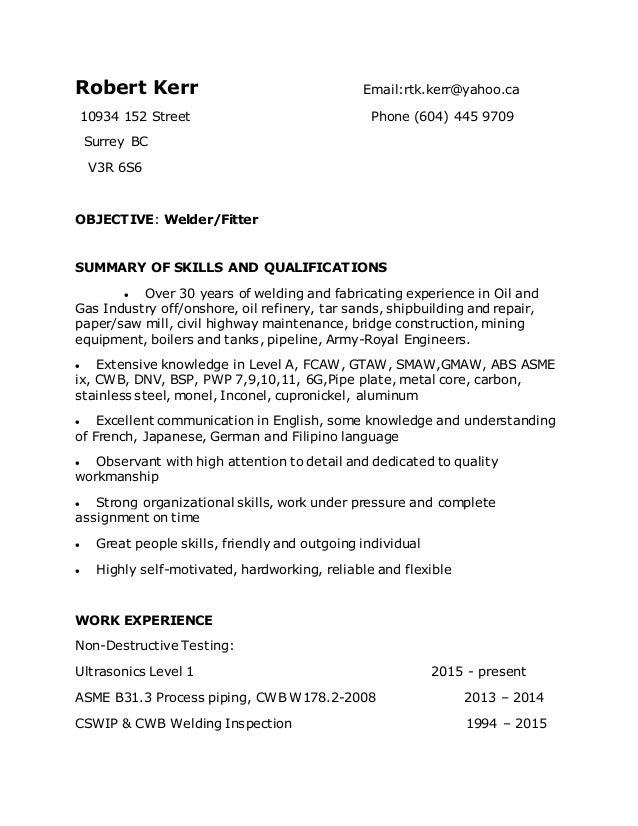 Welder resume for canada