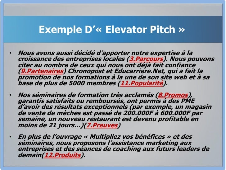 exemple de elevator pitch