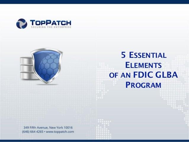 5 Elements of an FDIC GLBA Program