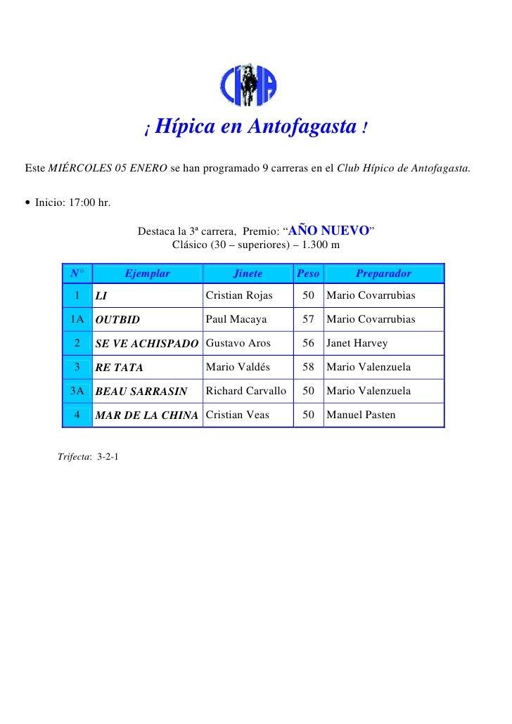 ¡ Hípica      en Antofagasta !Este MIÉRCOLES 05 ENERO se han programado 9 carreras en el Club Hípico de Antofagasta.• Inic...