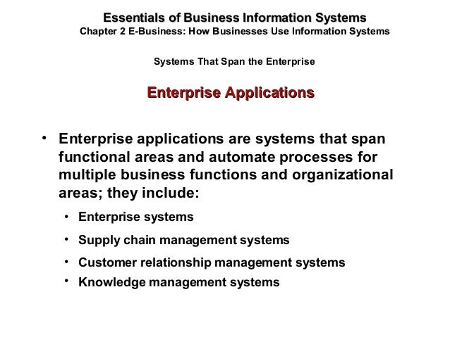 Enterprise ApplicationsEnterprise Applications Essentials of Business Information SystemsEssentials of Business Informatio...