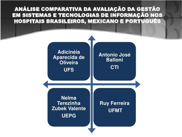 ANÁLISE COMPARATIVA DA AVALIAÇÃO DA GESTÃO EM SISTEMAS E TECNOLOGIAS DE INFORMAÇÃO NOS HOSPITAIS BRASILEIROS, MEXICANO E P...