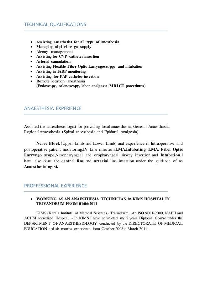Anesthetist nurse sample resume